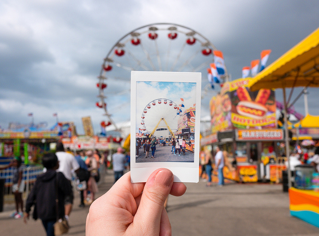 polaroid of a ferris wheel